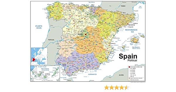 España mapa político laminado de papel, color, A1 Tamaño, 59,4 x ...