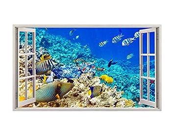 tekkdesigns A192 Acuario Fish Tank Agua Póster 3D para Pared Pegatinas de Pared de Sala de Estar Viny (Grande (90 x 52 cm)): Amazon.es: Hogar