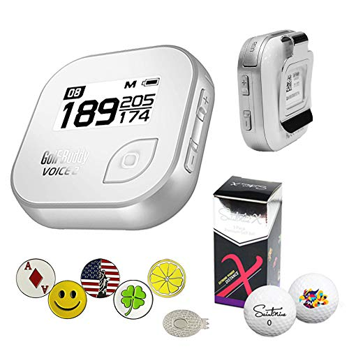 - GolfBuddy Voice 2 Golf GPS/Rangefinder Bundle with 1 Magnetic Hat Clip and 5 Ball Markers and Saintnine 2 Ball Sleeve