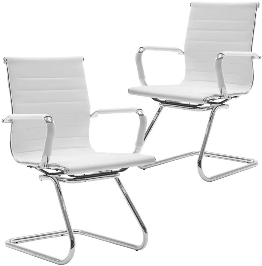DM Furniture Reception Chairs Leather Conference Chairs Back Support Heavy Duty Office Guest Chair, Set of 2 (White)
