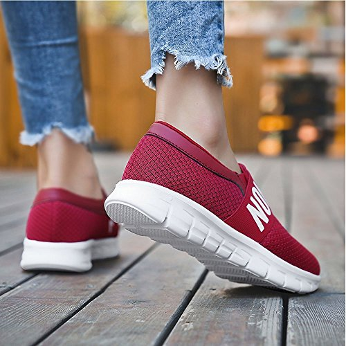 Sneakers Women's Running Breathable Lightweight Slip Shoes Walking Red XMeden Casual On Athletic Mesh TY8wP1qd