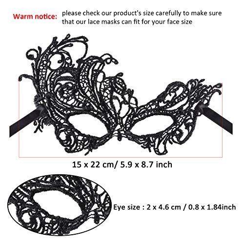 62f1b0e92d971 Jovitec Multicolored Masquerade Masks Lace Masks Venetian Masks Halloween  Mari Grass Party Mask (6 Pieces