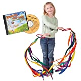 Constructive Playthings 3 Foot Long Permanently Attached Dancing Rainbow Ribbons on Two Rings and Ribbons & Rhythms CD Set for Ages 19 Months and Up