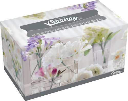 Kleenex Facial Tissue White - Assorted Box Designs - 240 Count (Pack of 18) ()