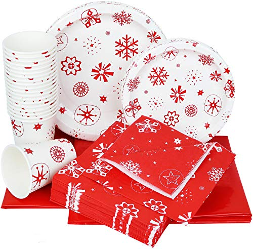 Galashield Christmas Disposable Dinnerware Set Supplies for 20