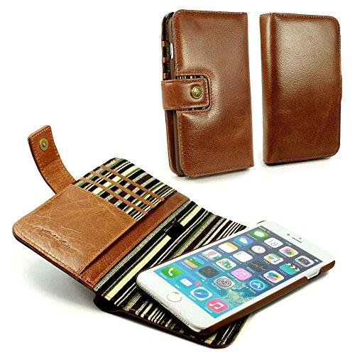 Alston Craig Tec E-scape Echtleder Geldbörse und hülle Portemonnaie einem im Vintage Look, mit magnetischer Halterung und (RFID-Ausleseschutz für Ihre Karten) - für iPhone 7 Plus- Braun