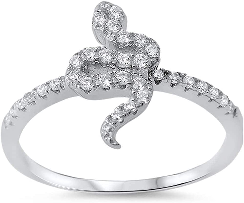 Princess Kylie Clear Cubic Zirconia Mini Snake Ring Sterling Silver
