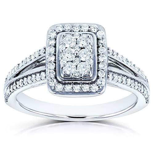 Diamond Halo Split Shank Engagement Ring 1/2ct TW in 14k White Gold, 9.5