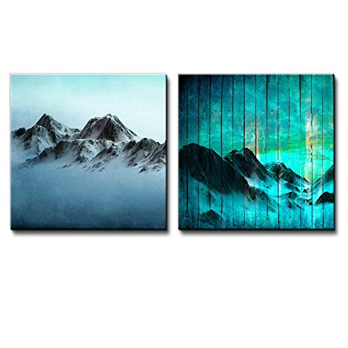 Mountains Over a Blue Watercolor Gradient Background Along with Mountains Over Teal Wooden Panels