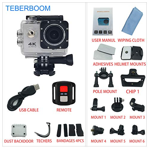 Cheap TEBERBOOM Sport Action Camera, Waterproof Sport Camera S2R WiFi 4k Ultra HD 170 Degree Wide View Angle,100ft Underwater and Mounting Accessories Kit with Wireless Control (Silver)