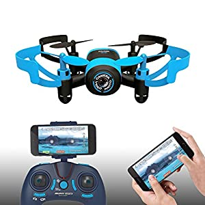 Hasakee Mini RC Helicopter Drone 2.4Ghz 6-Axis Gyro 4 Channels Quadcopter With FPV Wifi Camera,Altitude Hode and Headless Mode,Blue Bee by HASAKEE