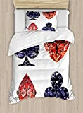 Ambesonne Diamonds Duvet Cover Set Twin Size, Diamond Shaped Cards Poker Fortune Symbols with Sapphire Figures Gambling Print, Decorative 2 Piece Bedding Set with 1 Pillow Sham, Dark Blue Red