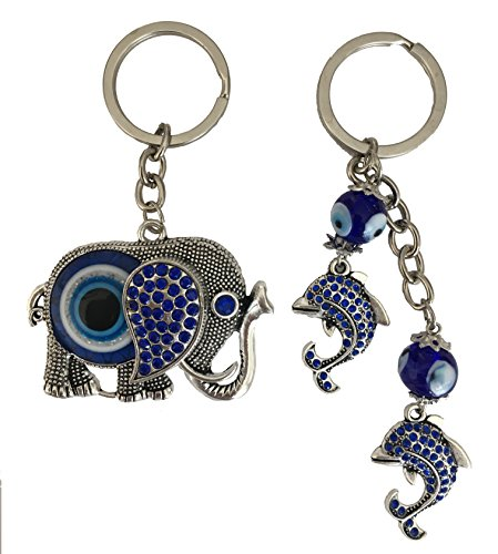 Blue Evil Eye Keychain Ring for Protection and Blessing, Pack of 2, Elephant and Dolphins Charm, Great Gift Idea