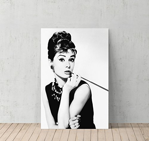 Audrey Hepburn Breakfast at Tiffany`s Canvas Print Decorative Art Modern Wall Décor Artwork Wrapped Wood Stretcher Bars - Ready to Hang - %100 Handmade in the USA -AHV5 (7 Year Anniversary Gift Modern)