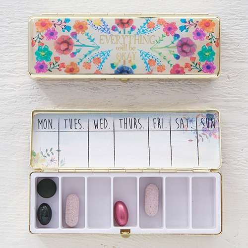 Natural Life Daily Pill Case/Vitamins Organizer Pill Box - Everything Will Be Okay