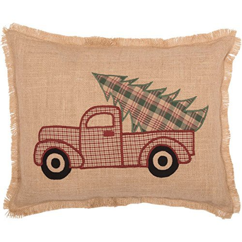 VHC Brands Rustic & Lodge Holiday Pillows & Throws - Clement Tan Applique Truck 14