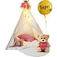 Kids Teepee Tent for Kids - With Fairy Lights -  Feathers...