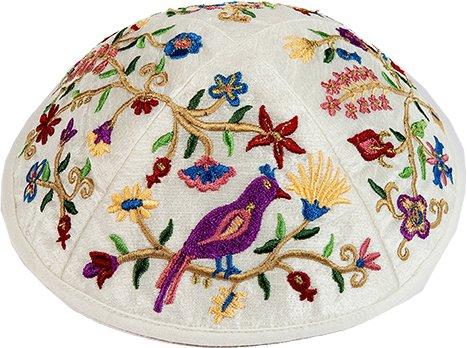 Kippah Yarmulkes & Yemenite Hat - Yair Emanuel Judaica EMBROIDERY KIPPAH MULTICOLOR FLOWERS AND BIRDS (Bundle) by Yair Emanuel