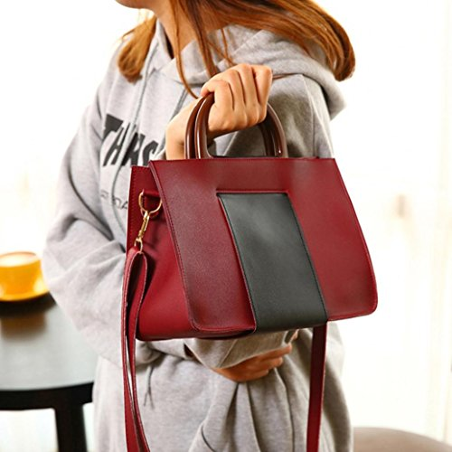 Sinwo Women Girl Fashion Patchwork Flap Bag Ladies Pretty Crossbody Shoulder Bag Handbag (Wine)