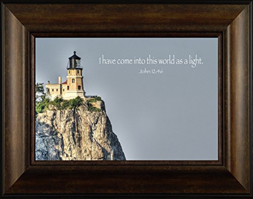 Pictures Rock Lighthouse Split (Light of the World By Todd Thunstedt 20x26 Split Rock Lighthouse Quote Verse John Winthrop Lighthouse Sailing Tall Ship North Shore Drive Art Print Wall Décor Picture)