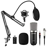 live sound equipment mixers - Aokeo AK-70 Professional Studio Live Stream Broadcasting Recording Condenser Microphone With AK-35 Suspension Scissor Arm Stand, Shock Mount, Pop Filter, USB Sound Card and Mounting Clamp