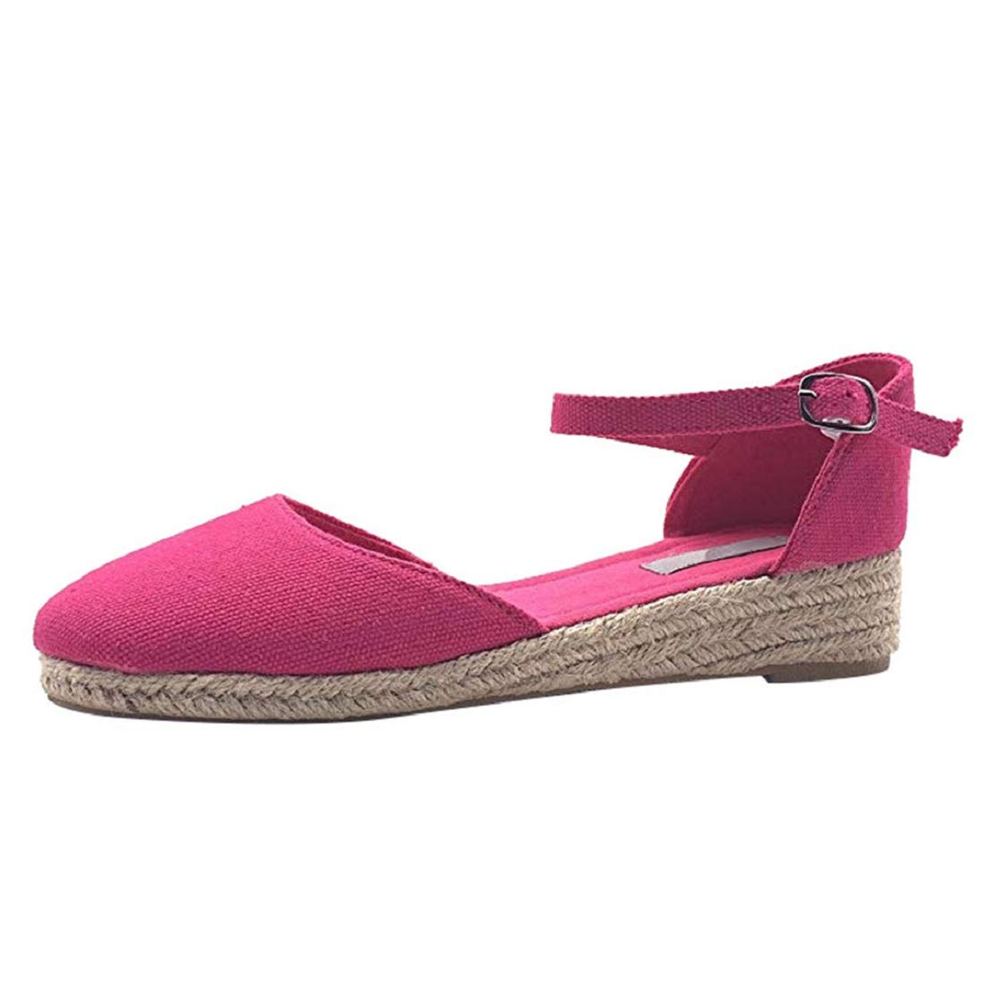 Women Closed Toe Straw Sandals Summer Fashion Strappy Espadrille Ankle Strap Wedge Low Heel Sandals by Lowprofile Hot Pink
