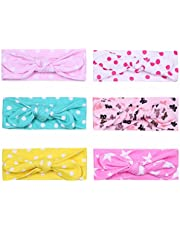 FEESHOW Baby Girls' Set of 6 Girls Turban Knotted Elastic Headbands Cute Patterns Hairband