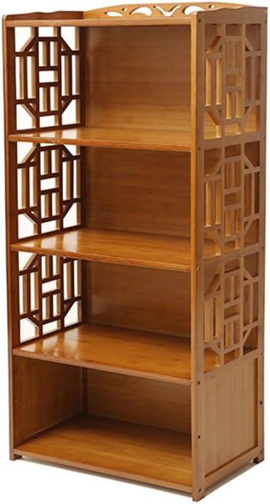 Biblioteca Sexy Estantería de bambú Multifuncional de 3 Niveles Estantería de Almacenamiento de Estante de combinación pequeña Antigua Libre Marrón ...