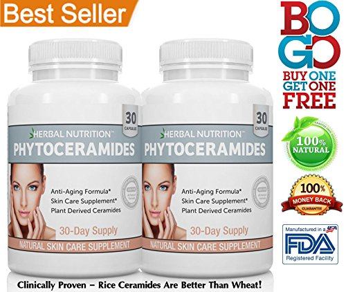 BOGO! Phytoceramides For Aging Skin | Rice & Vitamin A,C,D & E | Two Bottle Pack | Anti-Aging Skin, Hair, Nails Rejuvenation| All Natural Ceramides 40mg | Gluten Free | A 60 Day Supply | Free Shipping