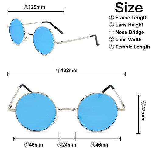 Hielo Sol Plateado De Moda Gafas Lente Clásico Azul Polarizadas Redondo AMZTM Marco 1cOTp6WBBq