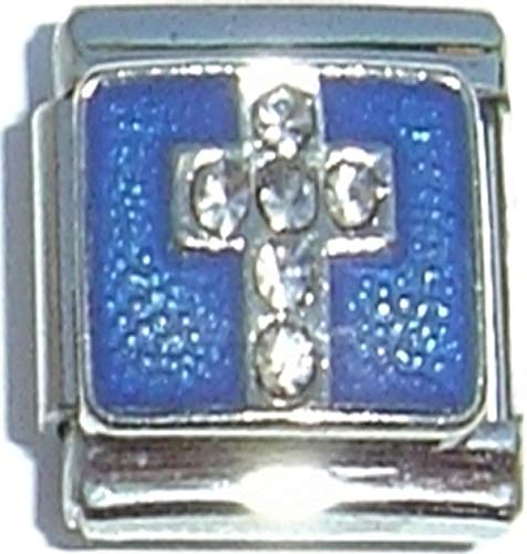 (Cross on Blue 13mm Italian Charm (not compatible with smaller 9mm charms) )