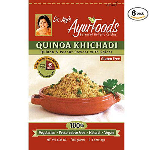 Dr. Jay's Ayurfoods Quinoa Khichadi 6 Pack, with Tasty Indian Spices for Health, BEST Gluten FREE Quinoa Mix for Paleo, Vegan and Vegetarian Meals, Made in USA with non-GMO ingredients (Microwavable Quinoa Packets compare prices)