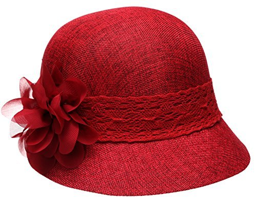 - Women's Gatsby Linen Cloche Hat With Lace Band And Flower - Red