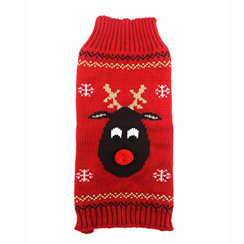ABRRLO Pet Holiday Reindeer Ugly Christmas Dog Sweater,Red Black Pet Puppy Cat Winter Knitwear Warm Jumper Clothes for Small Medium Dogs (XS (Chest 9.84