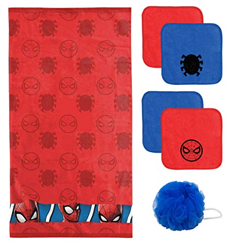 Jay Franco Marvel Spiderman Kids 6 Piece Bath Towel, Washcloth & Loofah - Super Soft & Absorbent Fade Resistant Cotton Terry Towel Set (Official Marvel Product)