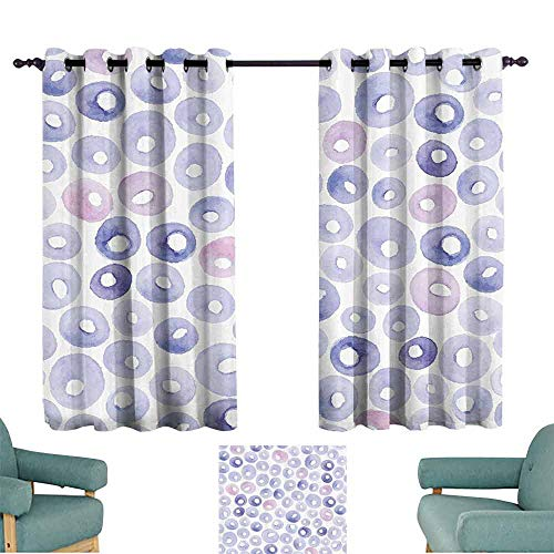 DILITECK Printed Curtain Abstract Hand Painted Circular Shapes in Pastel Watercolors Artistic Design Light Blocking Drapes with Liner W55 xL39 Baby Blue Blue Light Pink