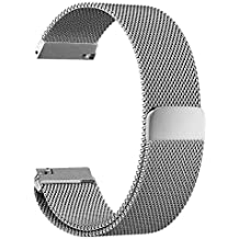 Hua Wei Watch Band, Magnetic Milanese Loop Stainless Steel Strap For Huawei Watch and Huawei Fit, Withings Activit, Magnetic Closure, Milanese Loop, Mesh Stainless Steel (Silver)