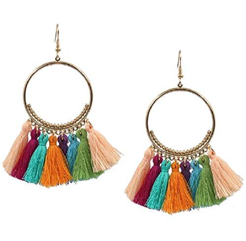 Tassel Earrings Boho Chic Drop Dangle, Brass Hoop and Rainbow Tassel Women Girls Jewelry for Casual Wear Or Formal Dress
