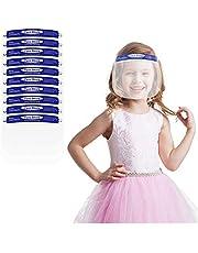 واقيات الوجه للاطفال من ان/ او مع رؤية شفافة، قابلة للتعديل، خفيفة الوزن وجيدة التهوية (ازرق، 10 قطع)، مقاس واحد (KidsShield_B_BLUE_10PACK)