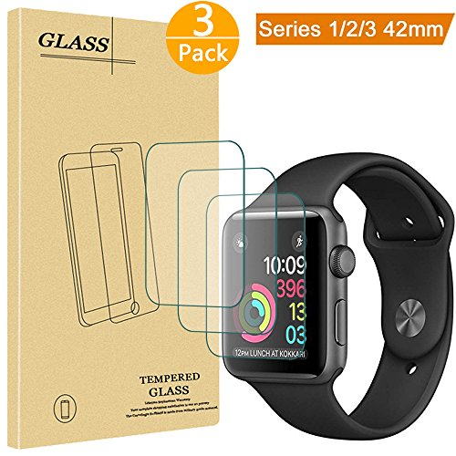 [3 Pack] Apple Watch Tempered Glass Screen Protector (42mm Series 3 / 2 / 1 Compatible) 9H Hardness, Anti-Scratch, Anti-Fingerprint, Bubble Free Easy Installation with Lifetime (3 Pack Screen Guard)