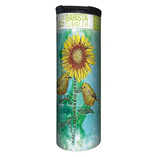 (Tree-Free Greetings Happy Happy Bird Sunflower Vacuum Insulated Travel Coffee Tumbler, 17 Ounce Stainless Steel Mug, Inspirational Gift (BT21946))