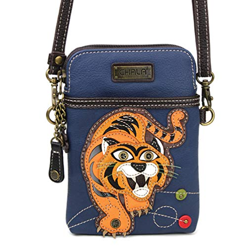 Chala Crossbody Cell Phone Purse - Women PU Leather Multicolor Handbag with Adjustable Strap - Tiger Navy
