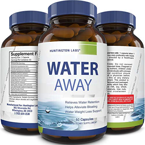 Water Away Diuretic Supplement with Dandelion Leaf - Bloat Relief Pills Weight Loss Relieve Swelling Water Retention - Natural Green Tea Extract Potassium Vitamin B6 for Men & Women (Best Way To Get Rid Of Water Weight Quickly)