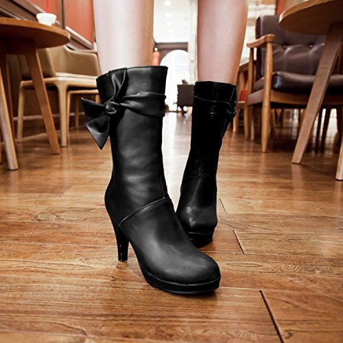 YFF Christmas gifts Side Women Boots Butterfly knot Side gifts Zipper Rough heel Round Head,black,43 Comfortable and unique B077L7KD4D Shoes 6bfa5a