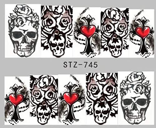 Full Set of 10 Punk Gothic Rockabilly Black SKULL Heart Nail Wrap Decals Sticker Salon Quality Nail Art - Great for Halloween! 1 Sheet]()