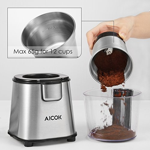 -[ Aicok Coffee Grinder 200W Electric Spice Grinder with Detachable Bowl Stainless Steel Grinder fo