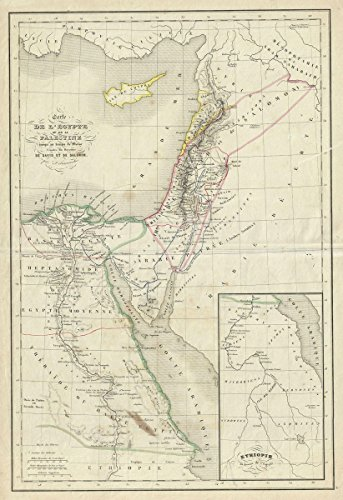 Historic Map | Delamarche Map of Egypt and Palestine or Holy Land Under Solomon, 1850 | Historical Antique Vintage Decor Poster Wall Art | 16in x 24in