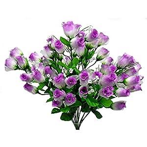 "18"" Gauze Sheer Mini Rose Bud Bush Silk Wedding Craft Bouquet Flowers 70 Roses 82"