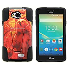 LG Optimus F60 Case, LG Transpyre Case, Dual Armor Fusion STRIKE Impact Kickstand Case with Unique Designs for LG Transpyre VS810PP, LG Tribute LS660, LG Optimus F60 (Verizon, Virgin Mobile, MetroPCS) from MINITURTLE | Includes Clear Screen Protector and Stylus Pen - Grizzly Bear