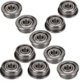 LGDehome 10Pcs Micro Stainless Steel F623ZZ Flange Ball Bearings with Edge 3x10x4mm for 3D Printer